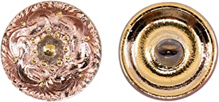 Botones, 1 Pieza, Button prensado Redondo checo con una caña de Metal, tamaño 8 (diámetro 18 mm), Vidrio Bohemio, Pintado a Mano, Transparent Chain of Ornament on Pink-Gold Background