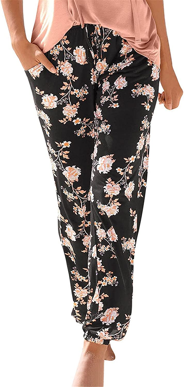 MIVAMIYA Womens Boho Pants Drawstring Wide Leg Palazzo Lounge Pants Loose Comfy Baggy Pajama Trouser Flowy Beach Pants