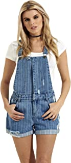 Denim Dungaree Shorts – Woven Stripe Overall shorts with abrasions Popper Front
