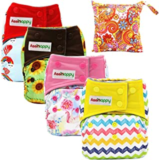Asenappy All in One Cloth Diaper Reusable AIO Sewn Inserts with Pocket Overnight (Unisex)