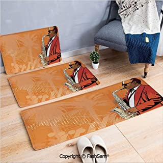 FashSam 3 Piece Flannel Doormat Illustration of Saxophone Player on a Background with Palm Trees Print for Kitchen Rugs Carpet(W15.7xL23.6 by W19.6xL31.5 by W35.4xL62.9)