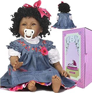 Reborn Baby Dolls African American Black Girl Eyes Open 22 Inch Newborn Silicone Baby Doll Handmade Weighted Reborn Doll Curly Hair