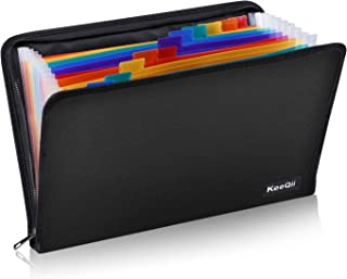 KeeQii Document Organizer, Multicolor 13 Pockets Expanding File Folder,Fireproof Zippered Accordian File Organizer with Colored Tab for Office/School, Zipper Closure, A4 Letter Size (14.2 x 10.2)