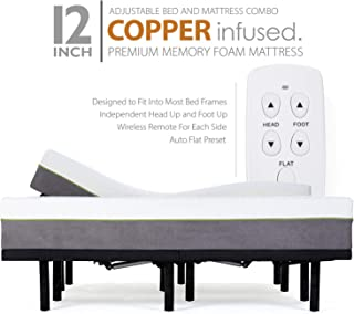 Adjustable Bed Frame and 12 Inch Split King Copper Infused Cool Memory Foam Mattress Medium Firm Feel CertiPUR-US Certified