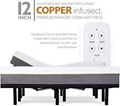 Blissful Nights Split King Adjustable Bed Frames and 12 Inch Copper Gel Infused Cool Memory Foam Mattress Medium Firm Feel...