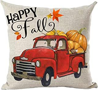 ramirar Hand Painted Watercolor Red Pickup Truck Maple Leaves Pumpkins Happy Fall Y'all Decorative Throw Pillow Cover Case Cushion Home Living Room Bed Sofa Car Cotton Linen Square 18 x 18 Inches