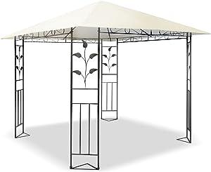 JOM Tonnelle Barnum de réception 3 x 3 m x 2,50 m Armature en fer forgé - Matière toile résistante polyéthylène: PE 180g/m² anthracite/crème.