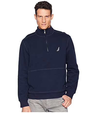 Nautica Fleece Basic 1/4 Zip Knit Active (Navy) Men
