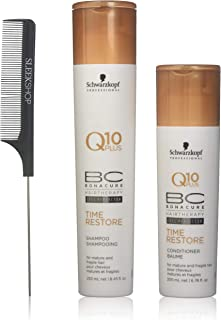 Schwarzkopf BC Bonacure Q10 Plus TIME RESTORE Shampoo & Conditioner for MATURE AND FRAGILE HAIR Duo SET (with Sleek Steel Pin Tail Comb) (8.5 oz/6.8 oz - DUO KIT)