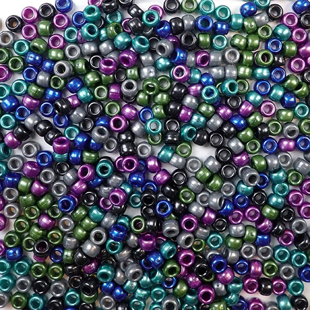 Cool Pearl Multicolor Mix Plastic Craft Pony Beads, 6 x 9mm, 500 Beads