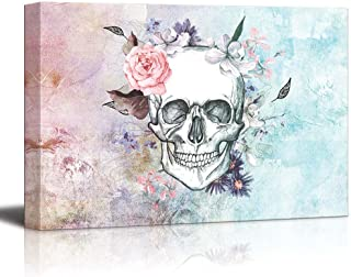 wall26 Sketched Skull with a Flower Crown on a Vintage Styled Background - Canvas Art Home Decor - 16x24 inches
