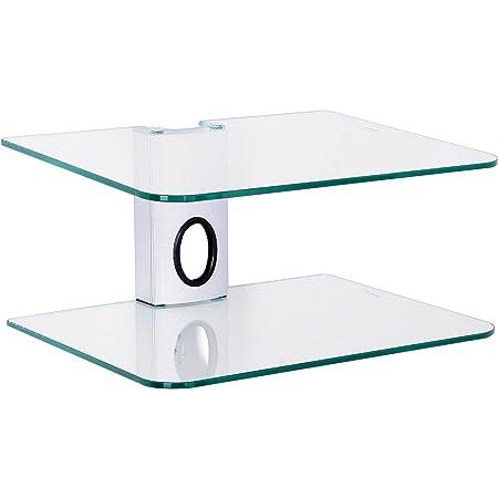 Goldline - Estantería o Soporte de Pared para Sky Box, DVD, etc, con 2 estantes suspendidos de Cristal (2 Shelf, Silver)