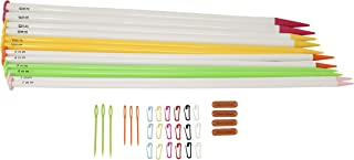 Large Straight Plastic Knitting Needles Set of 6 with Free Accessories I Ebook by KnitPal | Includes Jumbo US Sizes 10.75, 11, 13, 15, 17 and 19 | Thick Single Pointed Kit for Chunky Yarn (16 inches)
