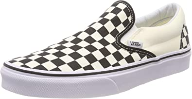 Vans Unisex Classic Slip-On (Checkerboard) Skate Shoe (35 M EU / 5.5 B(M) US Women / 4 D(M) US Men, Black/Off White Check)