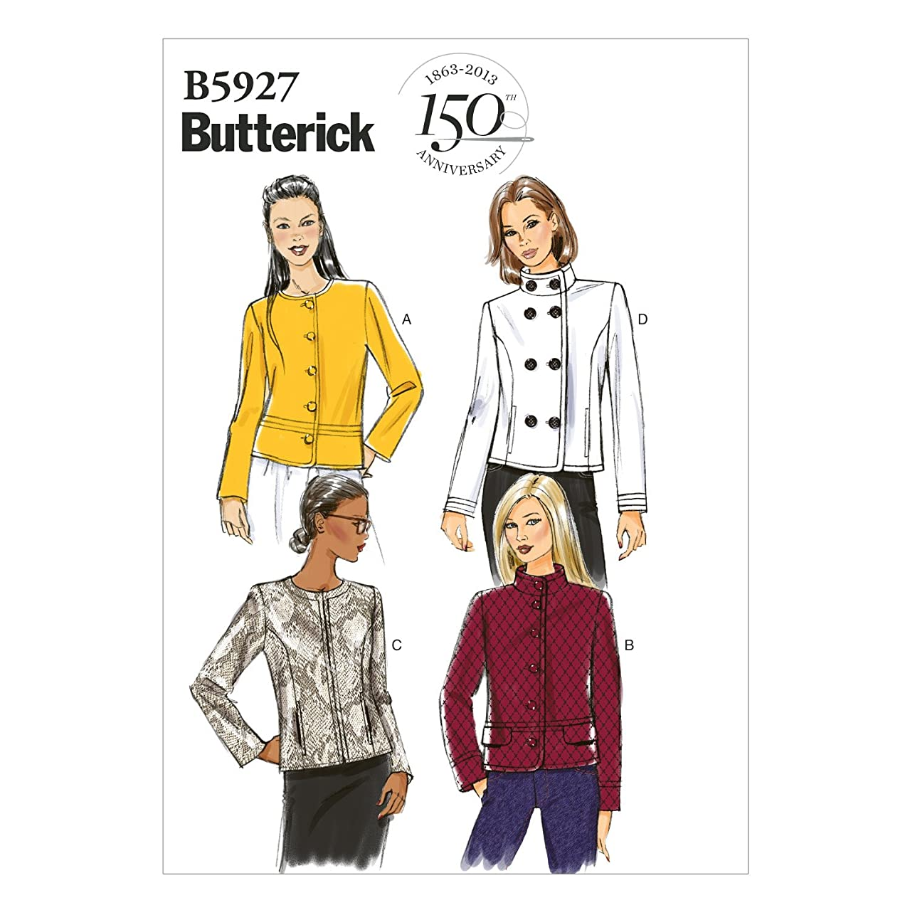 BUTTERICK PATTERNS B5927 Misses' Jacket Sewing Template, Size A5 (6-8-10-12-14)