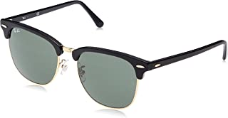 RB3016F Clubmaster Square Asian Fit Sunglasses, Black On Gold/Green, 55 mm