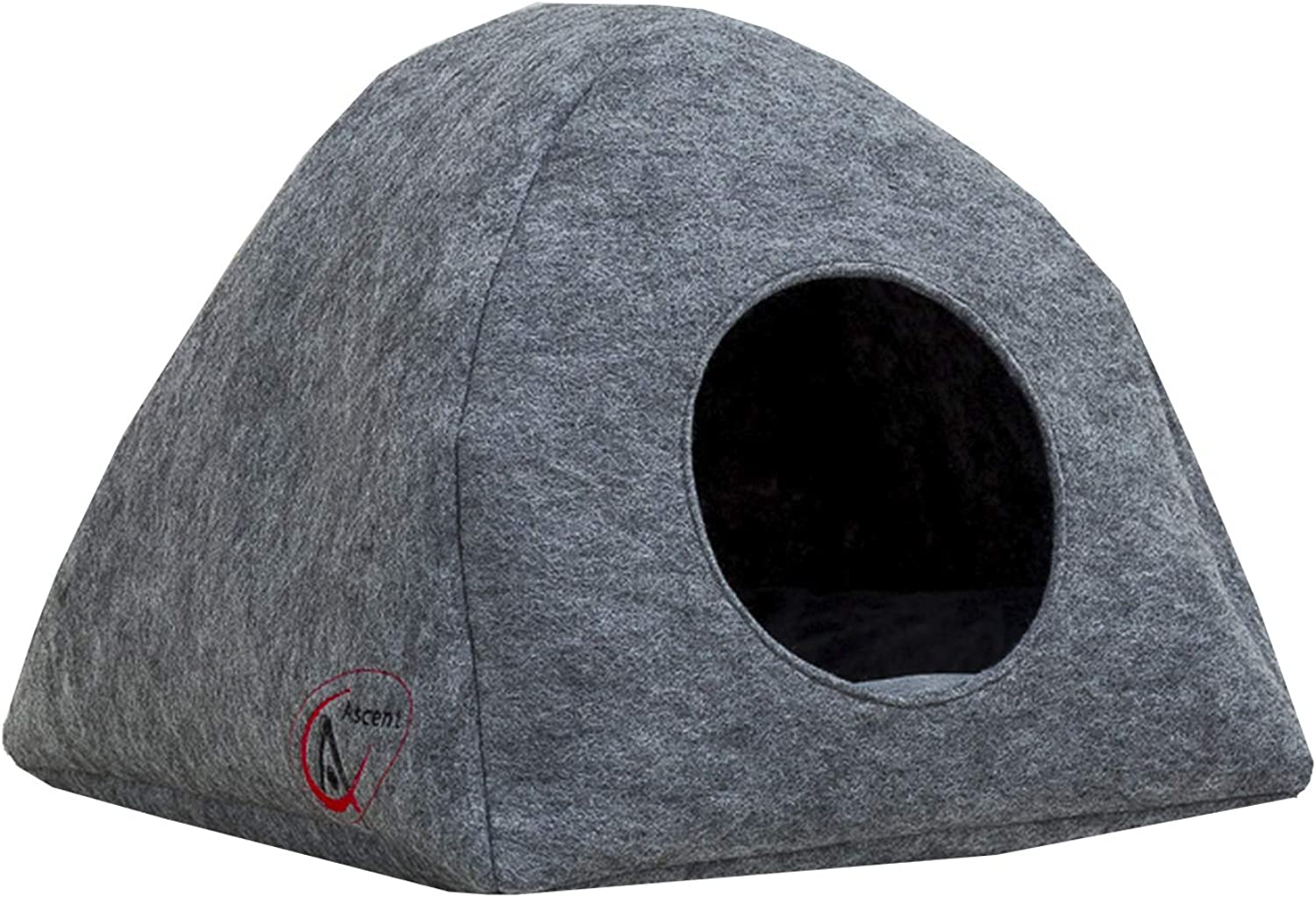 Ascent Pyramid Pet Cave Bed House  Handmade Self Warming Cubby Enclosed for Small Dogs, Cats and Kittens, Includes Cat Pillow Mat