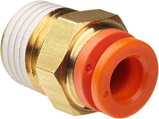 """SMC KQ2H07-35AS Brass Push-to-Connect Tube Fitting with Sealant, Adapter, 1/4"""" Tube OD x 1/4"""" NPT Male"""
