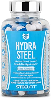 Hydra Steel All Natural Herbal Advanced Diuretic Formula for Rapid Water Loss - Prevents Bloating - Electrolyte Support - 80 Capsules - Made in USA
