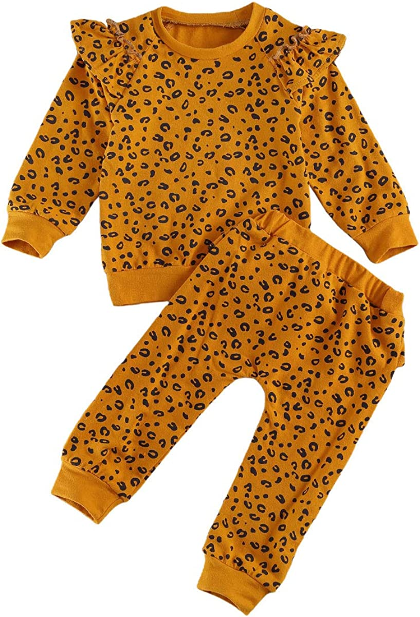 Toddler Unisex Fall Clothes Outfits, Leopard Ruffle Long Sleeve Tee Shirt Tops + Long Pants 2 Pcs