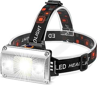 Linterna Frontal LED Recargable, Alta Potencia 18000 Lúmenes, Linterna Cabeza con 4 Modos, Alcance de 500M, luz para bicic...