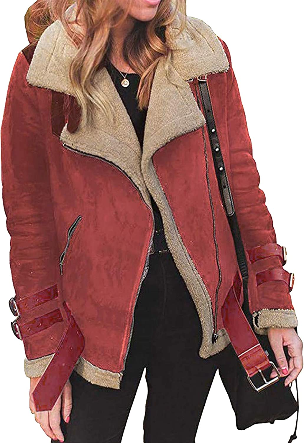 ZICUE Womens Lapel Faux Suede Leather Jackets Open Front Zip Up Biker Jacket with Pockets