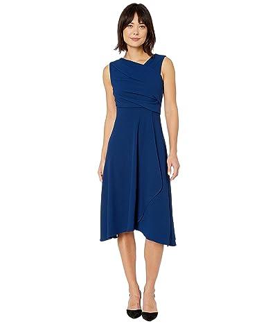 Adrianna Papell Soft Draped A-Line Dress (Navy) Women