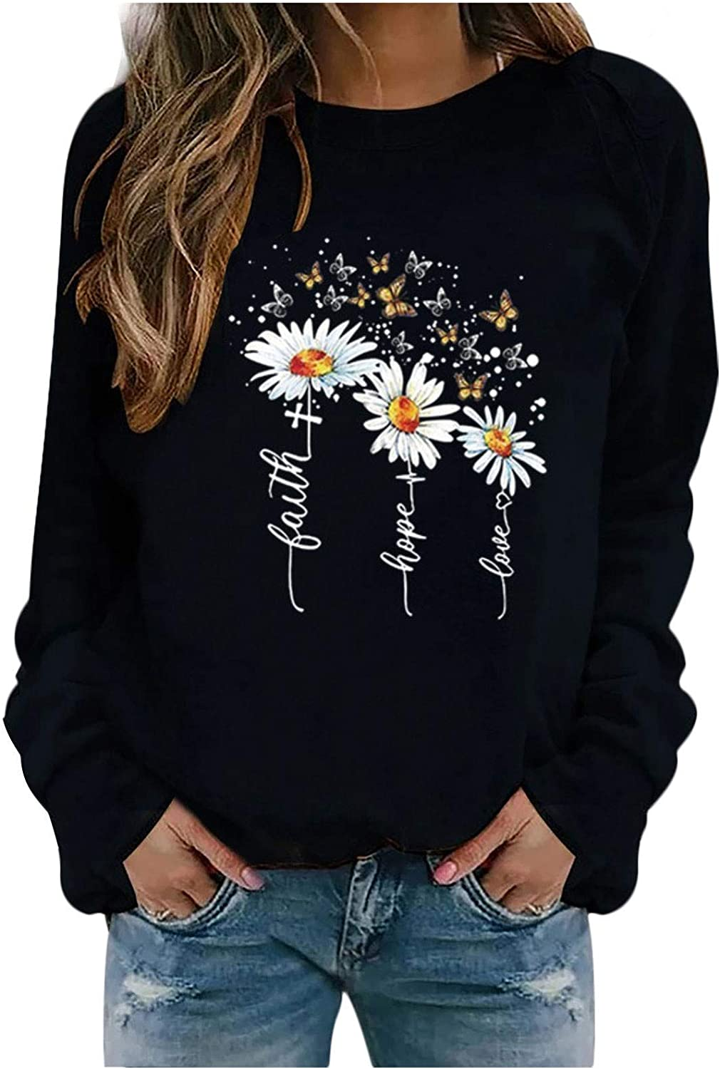 Tupenty Womens Long Sleeve Tops Plus Size Floral Butterfly Graphic Printed Casual Loose Tunic Shirts Blouse Sweatshirt