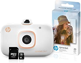 HP Sprocket 2-in-1 Portable Photo Printer & Instant Camera Bundle with 8GB MicroSD Card and Zink Photo Paper - White (5MS9...