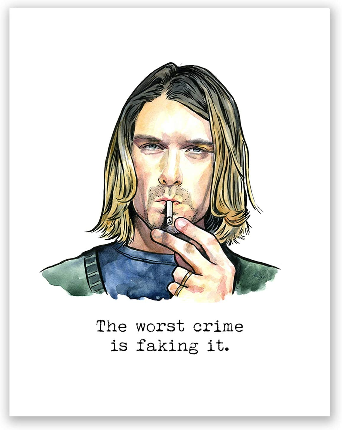 Kurt Cobain Nirvana Iconic Art Print Box Framed Picture Wall Hanging