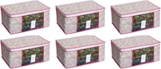 HomeStrap Non Woven Floral Saree/Clothes Cover with Window - Pack of 6 - Pink