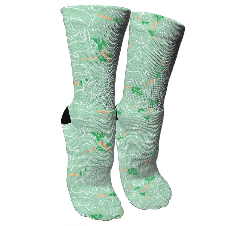 靴下 抗菌防臭 ソックス ウサギとニンジングリーンアスレチックスポーツソックス、旅行&フライトソックス、塗装アートファニーソックス30センチメートル長い靴下