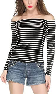 Women's Off The Shoulder Casual Long Sleeve Sexy Strapless Blouse Shirt Tops 0018