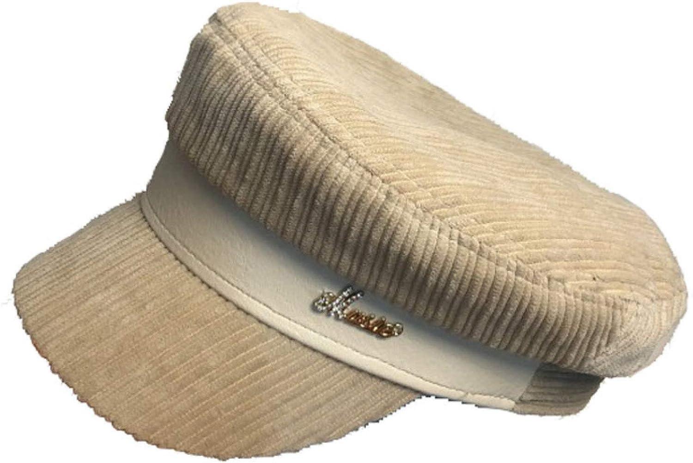 Women's Cotton Solid Newsboy Caps Corduroy Visor Beret Hat Girls Daily Baker Boy Cabbie Hat Military Cap for Winter