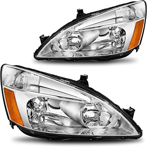 SHAREWIN Headlight Assembly Compatible with 2003-2007 Honda Accord Chrome Housing Amber Reflector Passenger and Driver Side