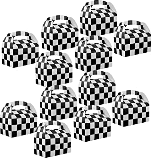 Adorox Set of 12 Checkered Racing Treat Boxes Race Car Theme Party Favors