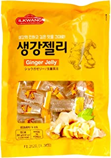 GINGER Chew_Jelly_Tummy Chews Chimes Natural Chews Chewy Candy Nausea Relief Preggie Pops_250 grams (8.8 oz) Product of Korea_Individually Wrapped (Ginger Jelly)