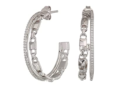 Michael Kors Precious Metal-Plated Sterling Silver Mercer Link Pave Halo Hoops Earrings (Silver) Earring