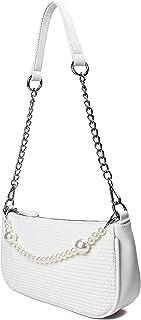 CAMILIFE Weiße Schulter Handtasche Mini Handtaschen mit Perlenkette Classic Vintage Tasche Kleine Weiße Handtasche für Dam...