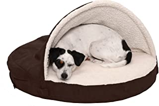 FurHaven Pet Dog Bed   Orthopedic Round Faux Sheepskin Snuggery Burrow Pet Bed for Dogs & Cats, Espresso, 26-Inch