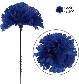 Larksilk Royal Blue Silk Carnation Picks, Artificial Flowers for Weddings, Decorations, DIY Decor, 100 Count Bulk, 3.5