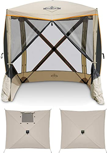 new arrival Hike Crew 4-Panel Pop-Up Screen House Gazebo 70x70 Inch – Instant Setup 4-Sided Hub online sale Tent UV Resistant (SPF 50+) Fits 5 People Heavy outlet sale Duty 210D Material – Includes Carry Bag & Ground Stakes online