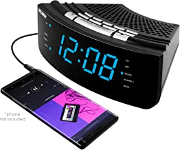 Nelsonic AM/FM Clock Radio – Built in Aux Cord – 10 FM and 10 AM Preset Station Choices – Wake to Music - Dual Alarm and L...