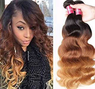 Sunber 10A Ombre Body Wave Hair 3 Bundles Ombre Human hair Body Wave Hair Brazilian Remy Hair Body Wave 100% Human Hair Extensions 3 Tone 1b 4 27 Color (16 18 20)