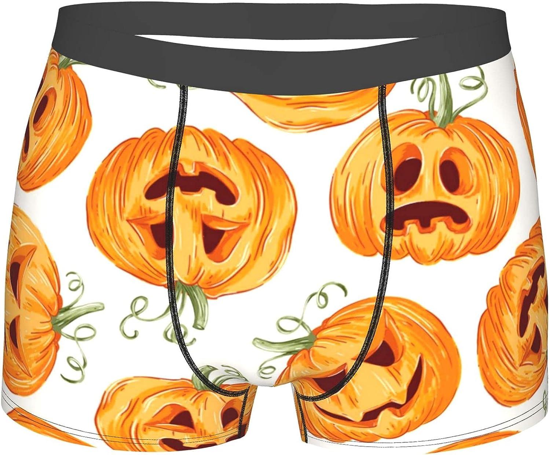 Jreergy Mens Boxer Briefs Halloween Pumpkin Breathable Underwear Performance Boxer Brief