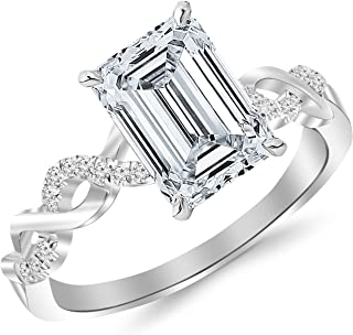 GIA Certified White Gold Twisting Infinity Gold and Diamond Split Shank Pave Set Diamond Engagement Ring with a 0.5 Carat Emerald Cut E Color VVS1 Clarity Center Stone
