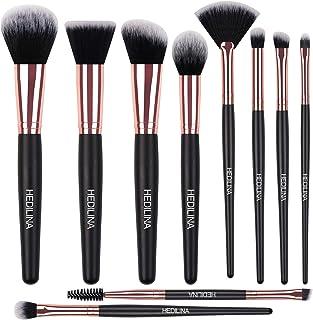 Makeup Brush Set - HEDILINA 10 pcs Makeup Brushes, Powder Angled Contour Face Flat Contour Eyeshadow Concealer Detail Fan Eyebrow Brush