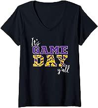 Womens It's Game Day Ya'll Tiger Purple & Gold V-Neck T-Shirt
