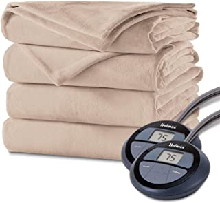 Holmes Luxury Velvet Plush Heated Blanket (Various Sizes and Colors) (Queen, Sand)