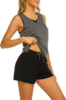 Ekouaer Womens Sleeveless Short Pajamas Sets Racerback Tank and Shorts Cute Sleepwear Sweetness PJs Set